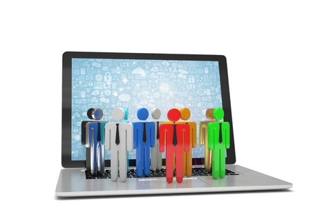 small group of object: group of people figures on laptop, 3d render