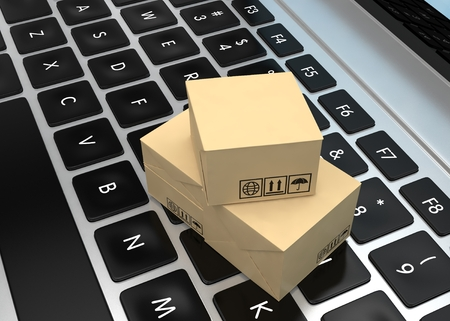 corrugated box: Technology business concept, shipping: cardboard package boxes on laptop. 3d rendering. Stock Photo