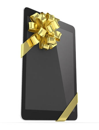 moble: Black tablet with golden bow. 3D rendering.