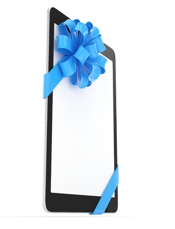 blue bow: Black tablet with blue bow and empty screen. 3D rendering. Stock Photo
