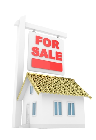 first house: Isolated model of house with for sale sign on white background. Good investment in real estate. Buy new apartment. 3D rendering.