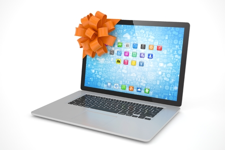 tied: Tied laptop with red bow on white background. 3D rendering.