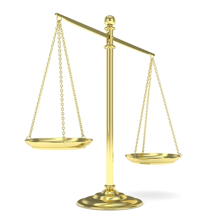 imbalance: Isolated golden scales on white background. Symbol of judgement. Law, measurement, liberty in one concept. 3D rendering.