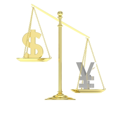 foreign exchange rates: Isolated old fashioned pan scale with dollar and yuan,yen on white background. American and chinese and japanese currency. Yuan is heavier. Silver yuan, golden usd. 3D rendering.