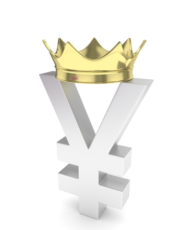 japanese currency: Isolated silver yen yuan sign with golden crown on white background. Chinese japanese currency. 3D rendering.