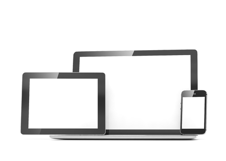 pda: laptop, tablet and phone on white. 3d rendering.