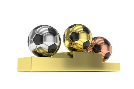 gloss: Three gloss soccer balls on golden pedestal. 3D rendering.