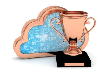 bronzed: Isoalted bronze cup with cloud on white background. Bronze contour cloud. Concept of cloud storage competition. Leader cloud drive. Best storage contest. 3D rendering.