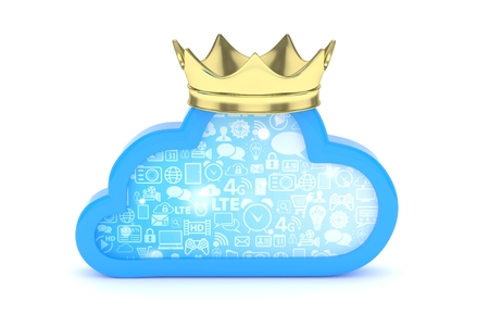 broadband: Isolated blue cloud icon with golden crown on white background. Symbol of communication, network and technology. Broadband. Online database. 3D rendering.