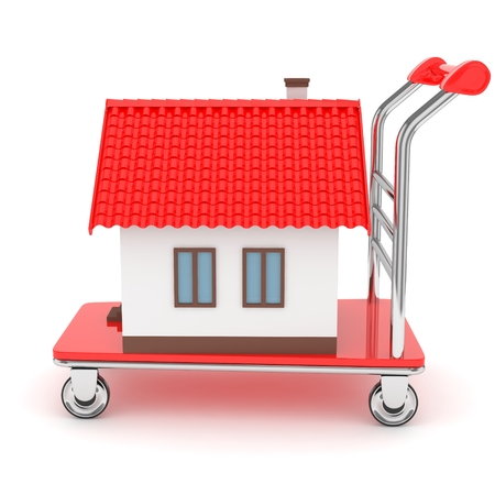 wheeled: Model of house on wheeled platform on white background. Concept of property moving, delivering. 3D rendering.