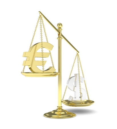 heavier: Isolated old fashioned pan scale with dollar and euro on white background. American and european currency. Dollar is heavier. Silver usd, golden euro. 3D rendering.