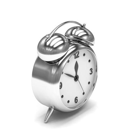 alarmclock: Chrome alarm clock on white. 3d rendering.