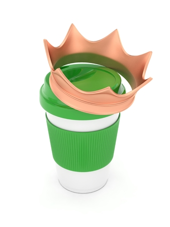 energize: Coffee cup with bronze crown on white background. Concept of luxury royal coffee. 3D rendering.