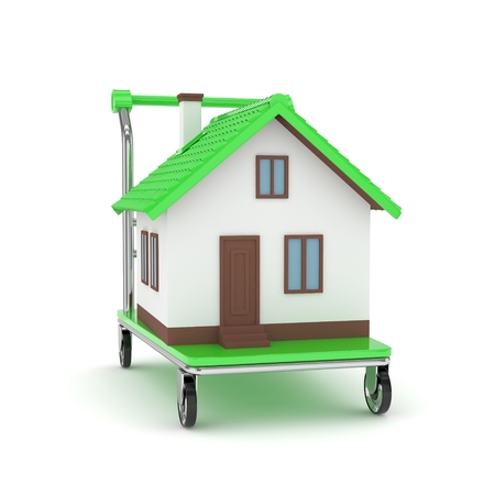 bogie: Model of house on wheeled platform on white background. Concept of property moving, delivering. 3D rendering.