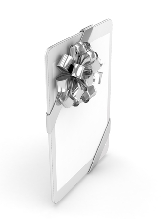 moble: White tablet with silver bow and empty screen. 3D rendering. Stock Photo