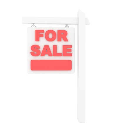for rent sign: For rent sign lease real estate on white background. 3D rendering. Stock Photo
