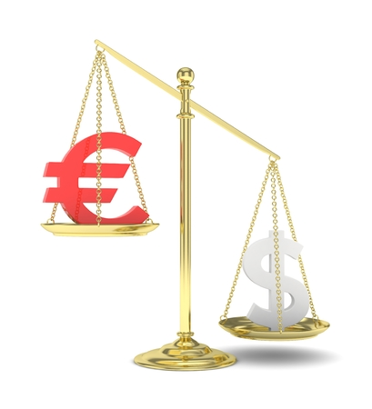 financial stability: Isolated old fashioned pan scale with dollar and euro on white background. American and european currency. Dollar is heavier. Silver usd, red euro. 3D rendering.