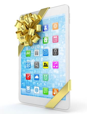 moble: White tablet with golden bow and icons. 3D rendering.