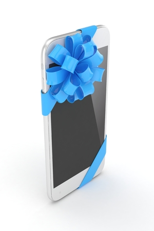 blue bow: White phone with blue bow. 3D rendering.