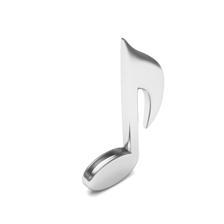 single songs: music note, on white. 3d rendering.