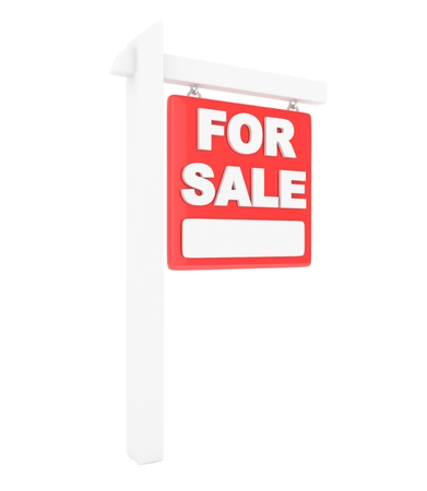outdoor advertising construction: For sale sign on white background. Real estate sale. 3D rendering.