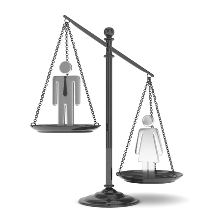 sex positions: Isolated old fashioned pan scale with man and woman on white background. Gender inequality. Female is heavier. Law issues. Silver model. 3D rendering. Stock Photo