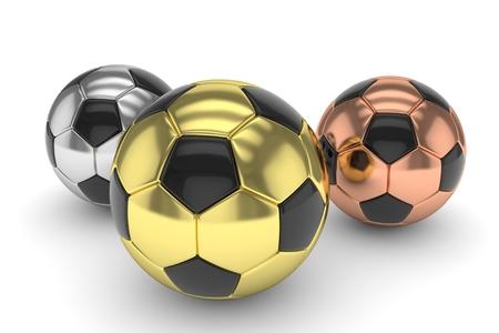 gloss: Three gloss soccer balls on white background. 3D rendering.