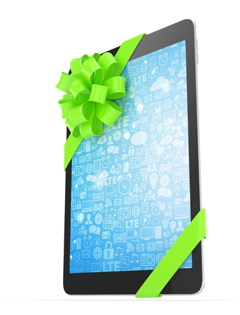 blue screen: Black tablet with green bow and blue screen. 3D rendering. Stock Photo