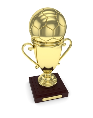 golden ball: Golden cup and golden ball on white background. 3D rendering. Stock Photo