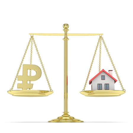 mortgage rates: Isolated golden scales with golden rouble and house on white background. Investment or savings concept. Real estate and currency. 3D rendering.