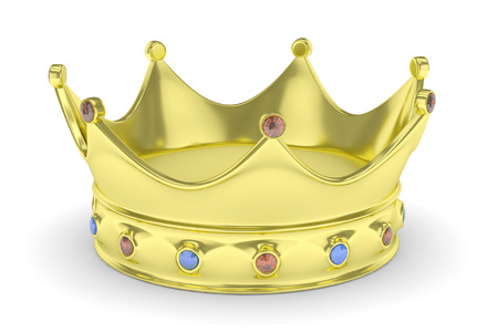 monarchy: Golden royal crown with blue and red gems on white. 3D rendering.