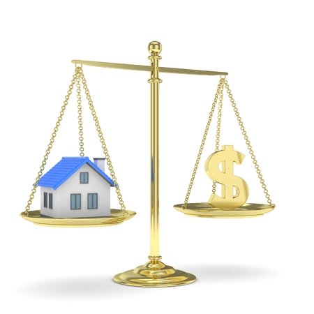 imbalance: Isolated golden scales with golden dollar and house on white background. Investment or savings concept. Real estate and currency. 3D rendering.
