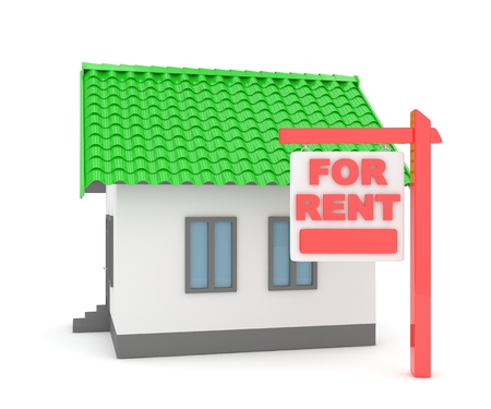 landlord: Miniature model of house real estate for rent on white background. 3D rendering. Stock Photo