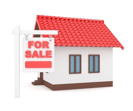 miniature: Miniature model of house real estate for sale on white background. Agency sale. 3D rendering.