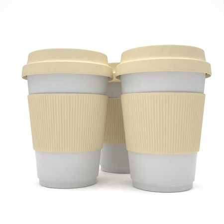 take out: Three paper coffee cups. 3d rendering.
