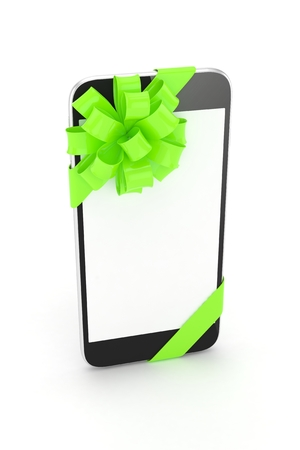 green bow: Black phone with green bow and empty screen. 3D rendering.