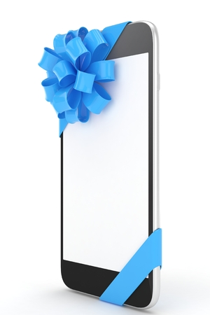 fiestas electronicas: Black phone with blue bow and empty screen. 3D rendering.
