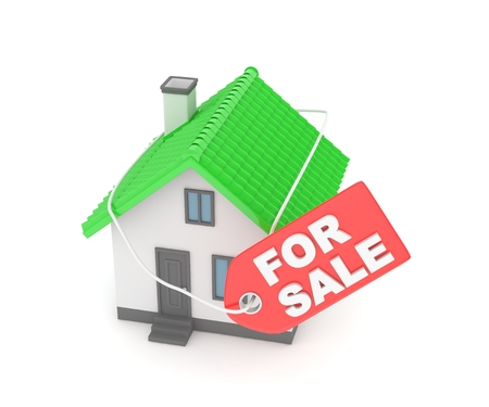 family moving house: Model of house with label for sale on white background. Concept of real estate sale. 3D rendering.