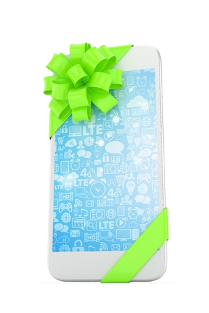 fiestas electronicas: White phone with green bow and blue screen. 3D rendering.