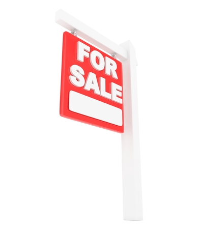 home value: For rent sign lease real estate on white background. 3D rendering. Stock Photo