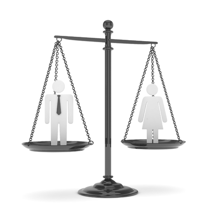 sex discrimination: Isolated old fashioned pan scale with man and woman on white background. Gender inequality. Equality of sexes. Law issues. Silver model. 3D rendering.