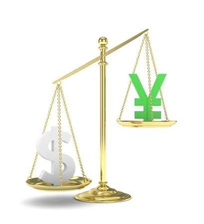 japanese currency: Isolated old fashioned pan scale with dollar and yuan,yen on white background. American and chinese and japanese currency. Dollar is heavier. Silver usd, green yuan. 3D rendering.