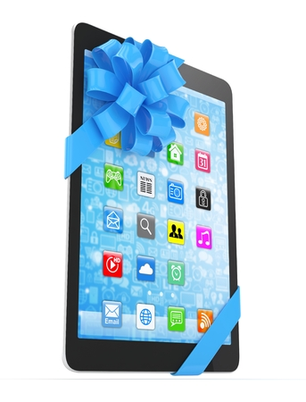 fiestas electronicas: Black tablet with blue bow and icons. 3D rendering. Foto de archivo