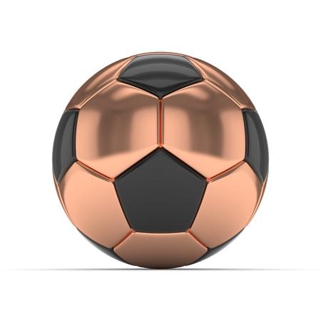 bronzed: Bronze soccer ball on white background. 3D rendering.