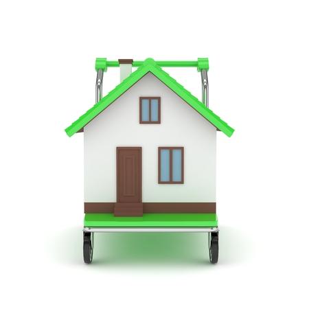 bogie: Model of house on wheeled platform on white background. 3D rendering.