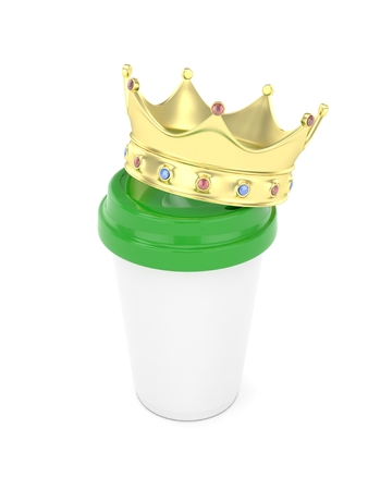 energize: Coffee cup with  golden crown on white background. 3D rendering.