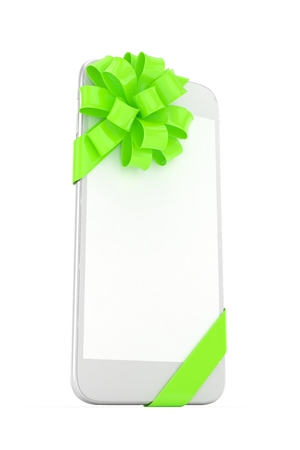 green bow: White phone with green bow and empty screen. 3D rendering.