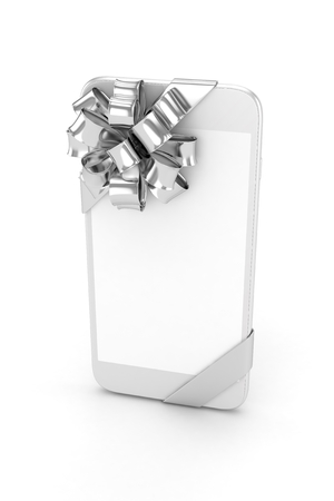 silver screen: White phone with silver bow and empty screen. 3D rendering. Stock Photo