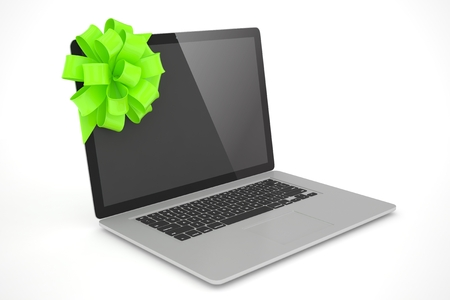 green bow: Tied laptop with green bow on white background. 3D rendering.