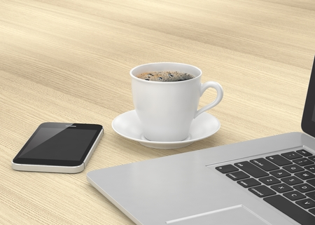 wood table: Laptop smartphone and coffee cup on wood table. 3d rendering.